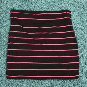 Black with hot pink stripes pencil skirt